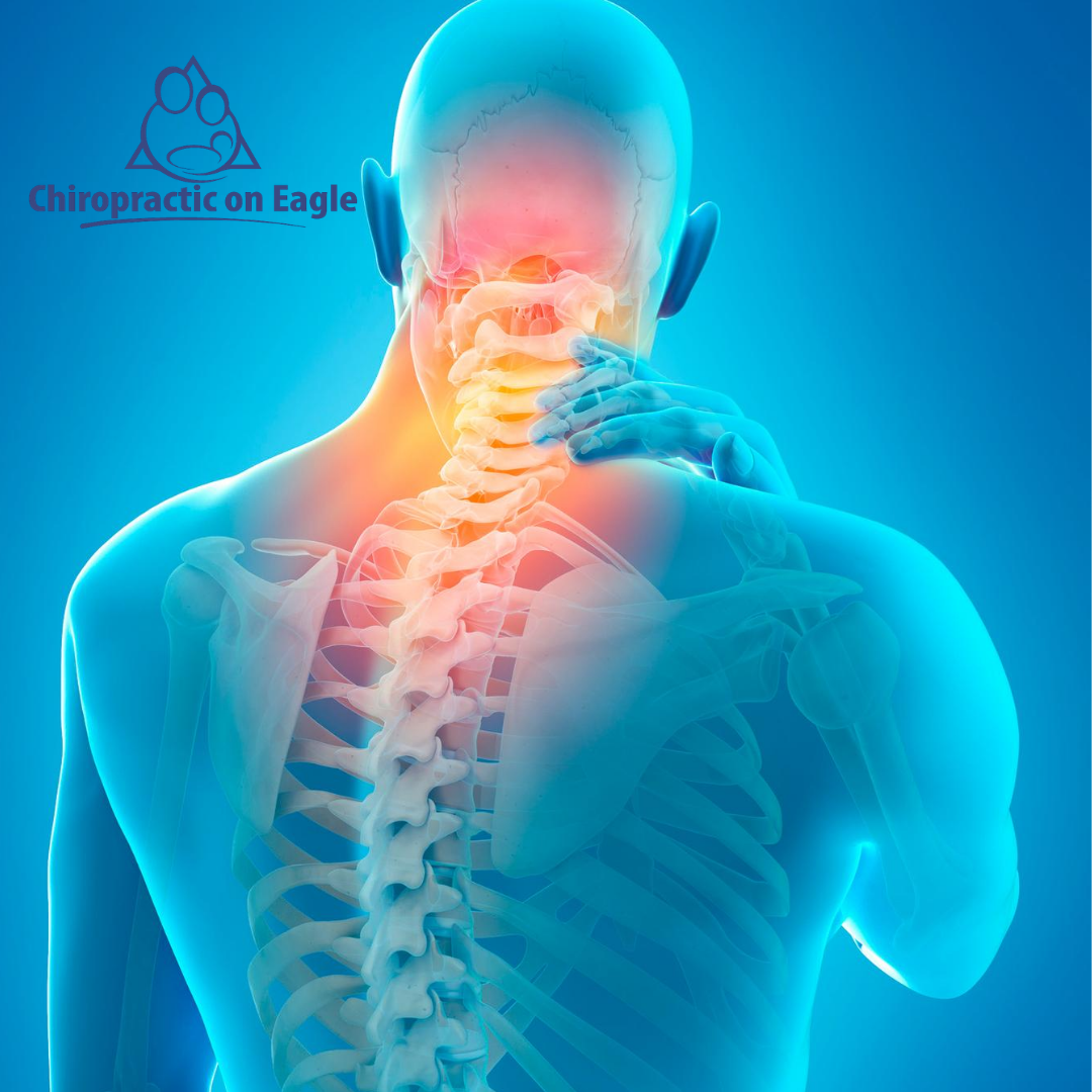 person holding their neck from pain